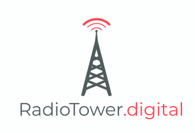 Radio Tower Digital Icon grey tall tower with red Radio Waves on the top