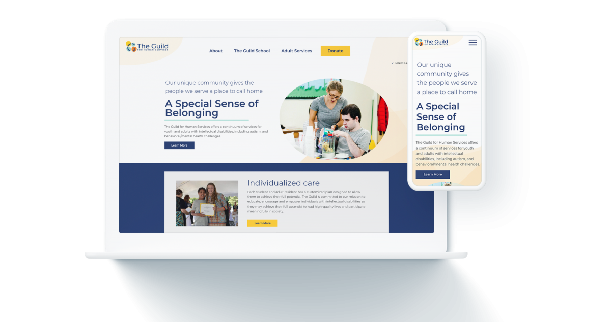 Mockup of the Guild for Human Services homepage on computer and phone